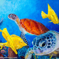 "Turtle original Oil Painting 30"" x 40"" on canvas 2000-Now, Artist, Large (Gre"
