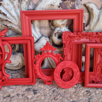 Red Ornate Vintage Frames, Wall Pocket Sconce, Upcycled, Painted Frames, Ornate Wall Decor