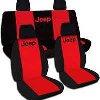 Jeep Wrangler JK (2011 to 2016) Two-Tone Seat Covers with Jeep: Black and Red - Full Set (21 Colors Available)