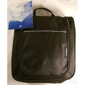 Everest Toiletry Bag Black Hanger Hook Compartments Waterproof Zippered Compact