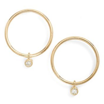 Zoë Chicco Diamond Small Frontal Hoop Earrings | Nordstrom