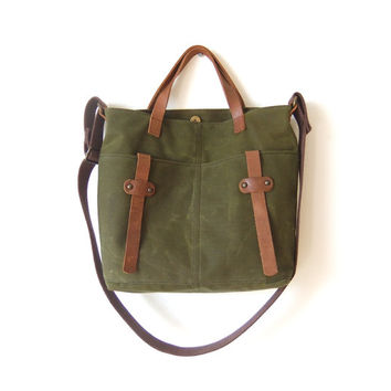 Waxed canvas tote leather accessories military green messenger bag handbag shoulder bag mustard cotton straps waxed canvas bag