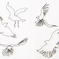 Wire Wall Art Flock of Birds - Inspirational Wire hanging sculpture -