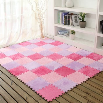 eva plus warm cashmere stitching. cashmere mats children's soft development of crawling form baby play mat puzzle game