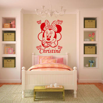 Custom Personalized Name Wall Decals Sticker Vinyl Art Nursery Minnie Mouse SM73