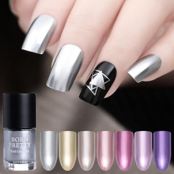 BORN PRETTY 9ml Mirror Effect Metal Nail Polish Purple Rose Gold Silver Chrome Nail Art Varnish Metallic Nails Art Tip Design