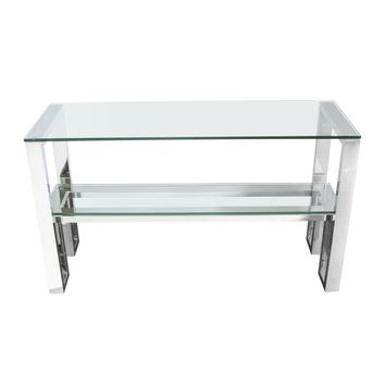 Carlsbad Console Table with Clear Glass Top & Shelf with Stainless Steel Frame