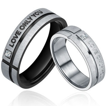 "Stainless Steel ""LOVE ONLY YOU"" W. Cubic Zirconia Couple Promise Ring [7981083463]"