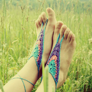 Handmade Crochet Barefoot Sandals Hippie Foot by GoldenHandsDesign
