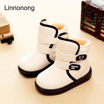 Winter Kids Plush Snow Boots Children Boys Girls Fashion Boots Antislip High Thick Waterproof Shoes White Black Red Child Boots