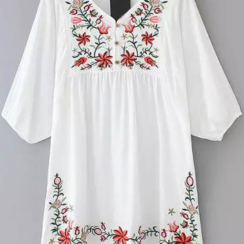 White V-Neckline Floral Embroidered Loose Fitting Mini Dress