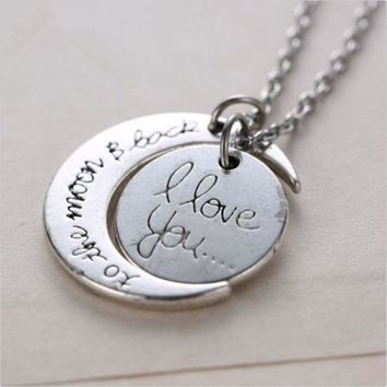 Silver White Tone 'i Love You To The Moon And Back' Pendant Necklace Jewelry Chain Choker Hot Fashion = 1946566596