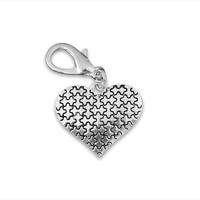 Silver Heart Puzzle Piece Hanging Charm for Autism Awareness