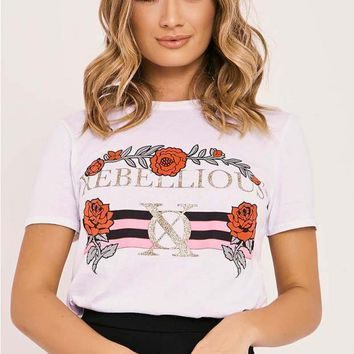 REBELLIOUS WHITE SLOGAN T SHIRT