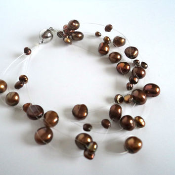 Floating Pearl Bracelet Brown and Bronze by Lunarpearl on Etsy