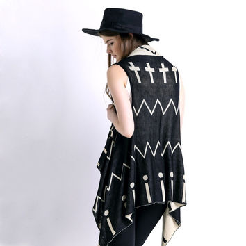 WAQIA new fashion women coat  Western style Geometric patterns Sexy sweater cardigan jacket
