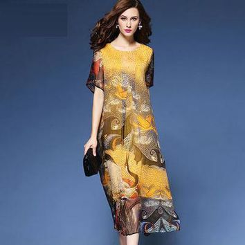 2017 National Print Dress Loose Scoop Neck Yellow Silk Maxi Dress For Women Layered Ethnic Floral Printed Dresses Plus Size 3XL