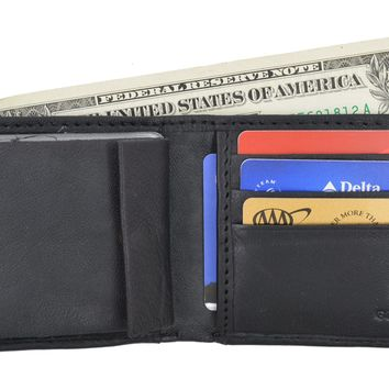 Swiss Marshal Soft Premium Leather Men's Bifold Wallet W/ Removable Leather Credit Card Case SM-P1154
