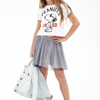 FOREVER 21 GIRLS Varsity Snoopy Boxy Tee (Kids) Cream/Red
