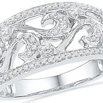 10kt White Gold Womens Round Diamond Filigree Band Ring 1/3 Cttw