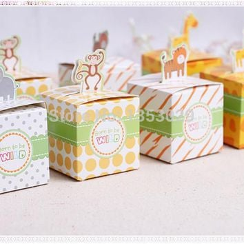 Free Shipping 60PCS Baby Shower Favors Box Safari Animal Wild Favor Box Candy Box Souvenir Boy/Girl Kids Event & Party Supplies