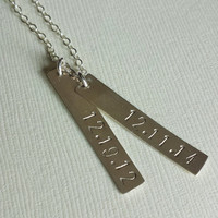 Double Bar Necklace/ Sterling Silver / Dates / Names / Mom / Kids / Bridesmaid / Longitude and Latitude / Verticle Bars / Gift