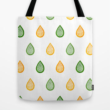 Yellow and green raindrops Tote Bag by Savousepate