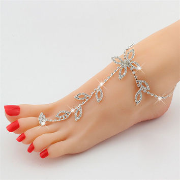 Rhinestone anklet for women silver anklets beach foot chain bridal foot jewelry