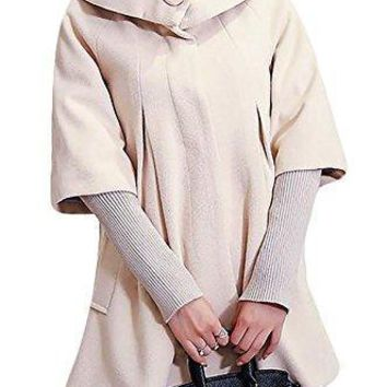 Pandapang Womens Wool Blend Removable Knit Sleeve Trench Coat Outwear