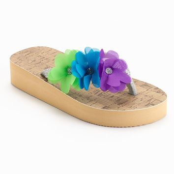 Jeweled Flower Wedge Flip-Flops - Girls (Brown)