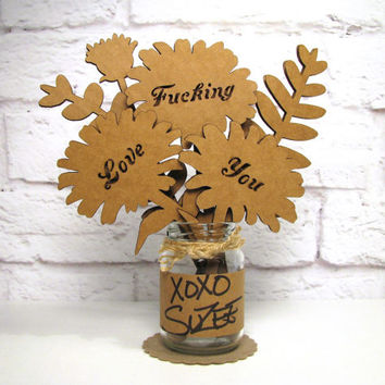 F-CKING LOVE YOU - Romantic Anniversary Gift Idea Corrugated Cardboard Flowers Bouquet In Mini Mason Jar Great Gift Idea