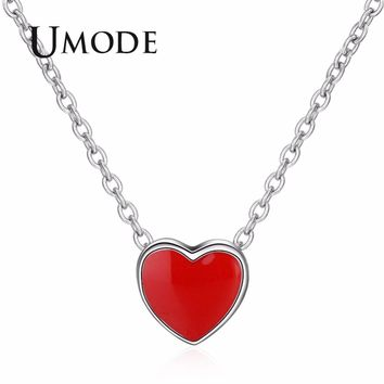 UMODE Tiny Cute Red Heart Long Chain Women Necklace Fashion Jewelry Girls Pendants And Drop Necklaces for Best Friend UN0294