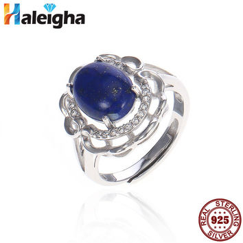 Vintage Lapis Rings for Women silver 925 jewelry 8*10mm Natural Oval Blue Gemstone Halo Filigree Ring White Gold Color Anillos
