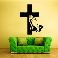 Wall Vinyl Sticker Decals Decor Art cross hands prayer pray god Jesus Christianity (z2142)