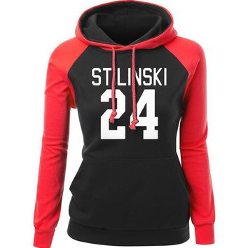 Sweatshirt For Women 2017 Autmn Winter Raglan Hoody Print STILINSKI 24 Wolf Teen Fashion Streetwear Hip Hop Women's Sportswear