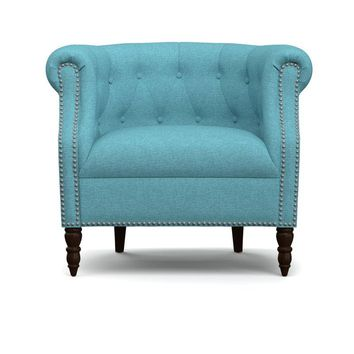 The Barrington Tufted Barrel Chair in Turquoise