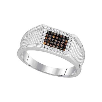 10kt White Gold Men's Round Black Color Enhanced Diamond Rectangle Frame Cluster Ring 1/5 Cttw - FREE Shipping (US/CAN)
