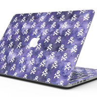 White Skulls on Purple Watercolor - MacBook Pro with Retina Display Full-Coverage Skin Kit