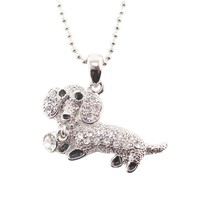 Dachshund Sausage Dog Pendant Necklace in Silver with Rhinestones