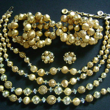 Vintage David Lisner Gold Tone Filigree Balls Crystal AB Beads 2-Strand Necklaces Wraparound Coil Bracelets and Clip-on Earrings Parure Set
