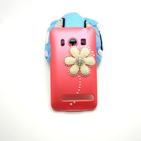 Handmade hard case for HTC EVO 4G: Bling flower (customized are welcome)