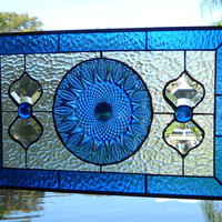 Cobalt Avon Royal Sapphire Stained Glass Plate Panel featuring Vintage Dish as a Valance