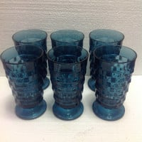 Set of 6 Vintage Indiana Glass Whitehall Riviera Blue Tumblers Drinking Glasses
