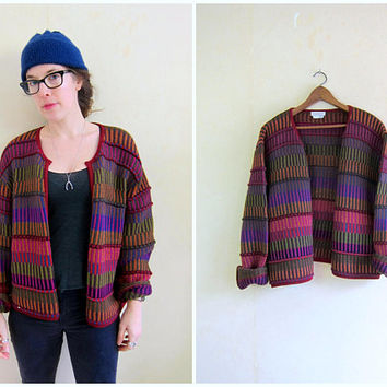 Alpaca Cardigan Sweater 90s Colorful Knit Open Sweater Pink Red Green Striped Sweater Coat Colorful Chunky Country Folk Sweater Women Large