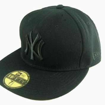 New York Yankees New Era Mlb Authentic Collection 59fifty Cap All Black