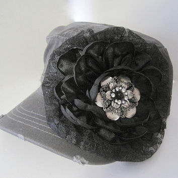 Unique Charcoal Grey Distressed Cadet  Military Army Hat with Black Pearl and Rhinestone Silver Accent Womens Hats Accessories Sun Hats