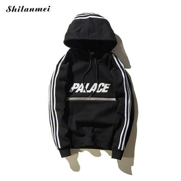 Palace Sweatshirt Black Hip Hop Street 2016 Sweat Palace Hoodies Mens Skateboards super Hoodie Zipper Men Sudadera Hombre pul