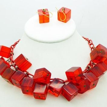 Red Bakelite Prystal Cubes Celluloid Chain Necklace and Earrings