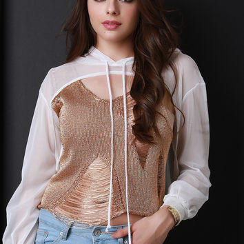 Semi-Sheer Cutout Hooded Crop Top