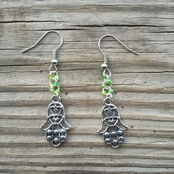 Silver Hasma Hand and Green Seed Bead Earrings